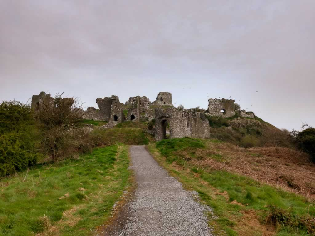 Viewing the ruins of Rock Of Dunamase Ireland on the walk up the hill