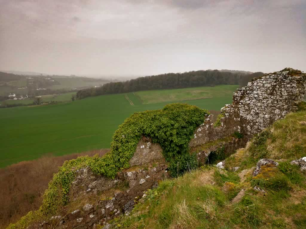The sprawling farmland and surrounding mountains make the climb up the Rock Of Dunamase Ireland well worth it.
