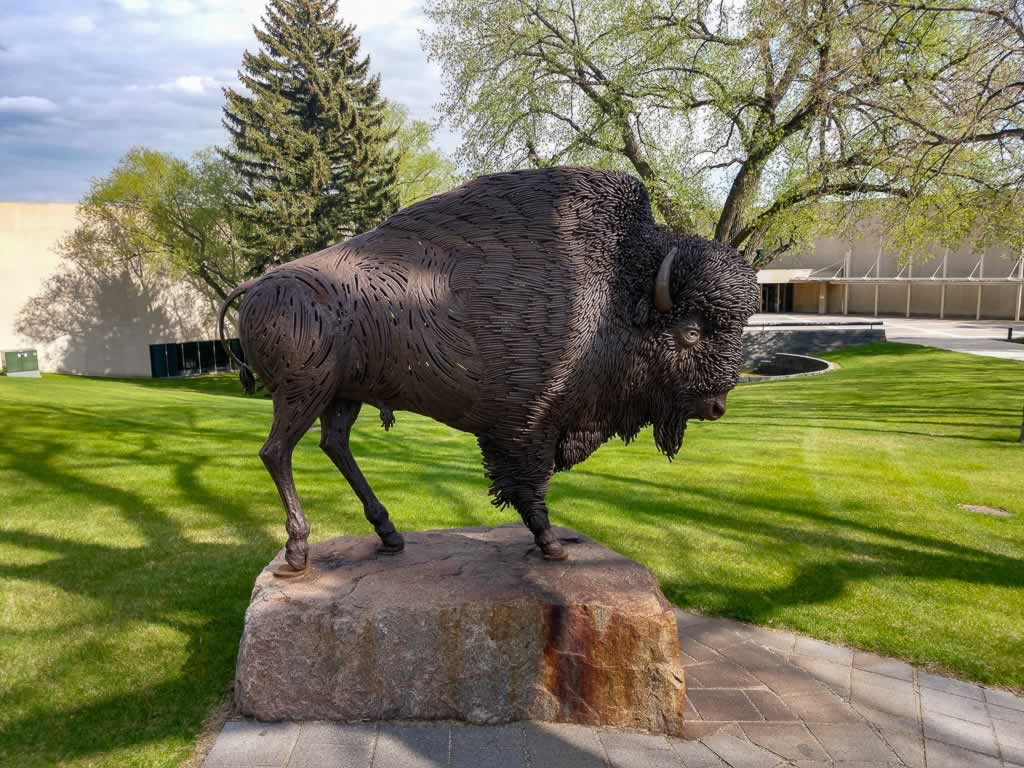 North Dakota Bismarck State Capitol Bison Statue